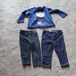 Baby Girl 2 Pairs Pants & Top 24 months